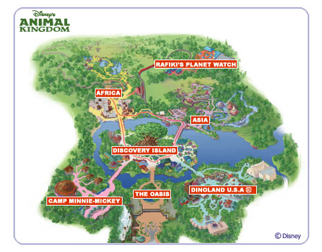 Map of Disney's Animal Kingdom park