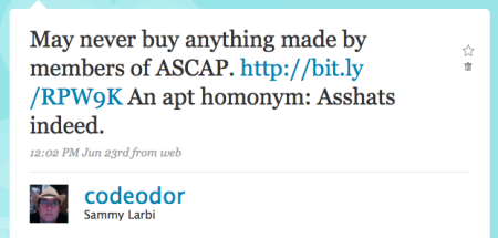 ASCAP asshats tweet