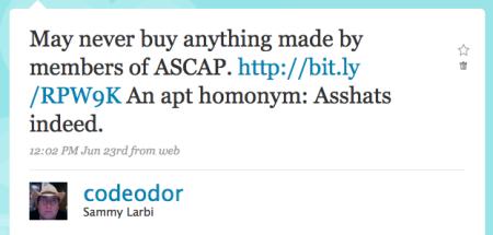 ASCAP asshats tweet