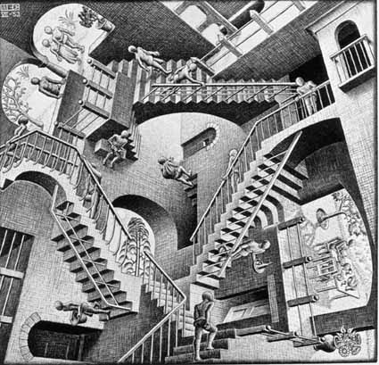 MC Escher's Relativity used to illustrate illusion.