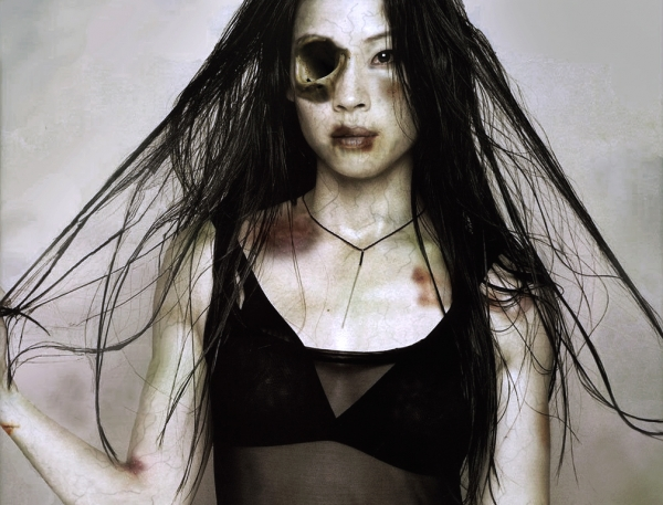Lucy Liu photoshopped to be a zombie