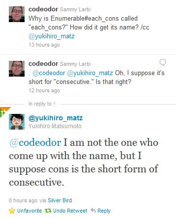 Matz says 'I am not the one who come up with the name, but I suppose cons is the short form of consecutive.'