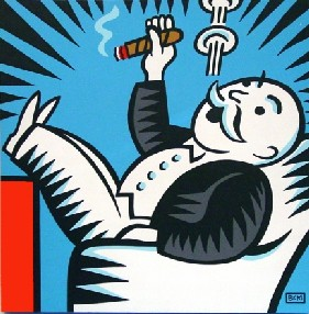 Monopoly man is having a good time counting money and smoking cigars.