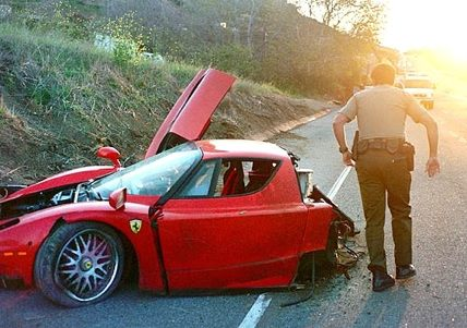 Ferrari wrecked on the Pacific Coast Highway