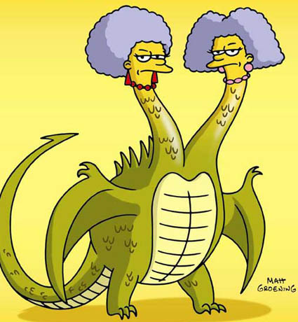 Patty and Selma from The Simpsons, as a two-headed dragon.