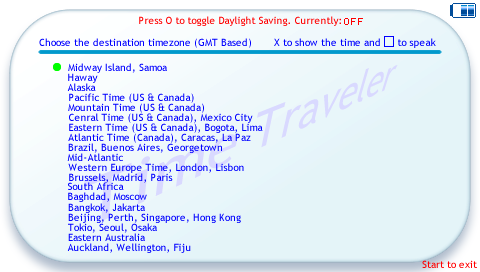 Screenshot of time zone PSP app