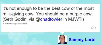 Tweet on twitter relating the purple cow allegory