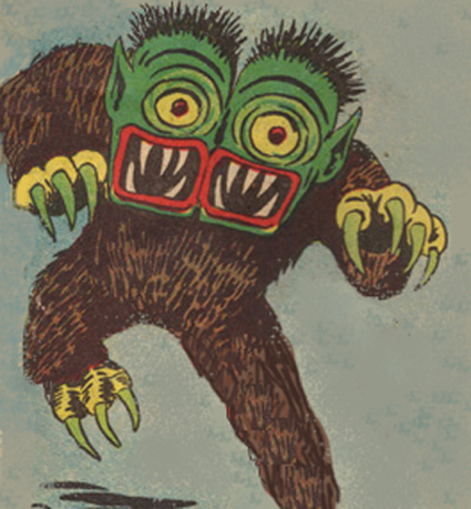 A two-headed monster from the comic Electro.
